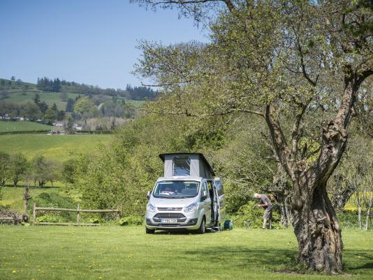 5 star motorhome camping site Presteigne Wales